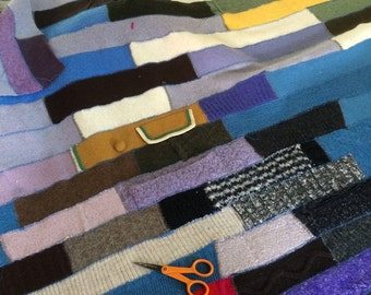 Crispina Blanket, Handmade Blanket Crispina Quilt, Recycled Sweater Throw Blanket - Upcycled Wool and Cashmere Quilt