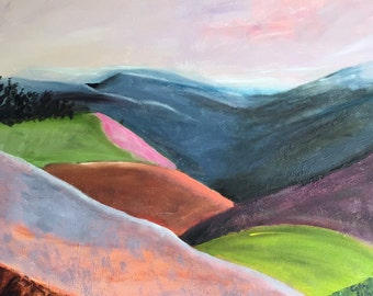 North Carolina Mountains, abstract painting, oil painting, original art