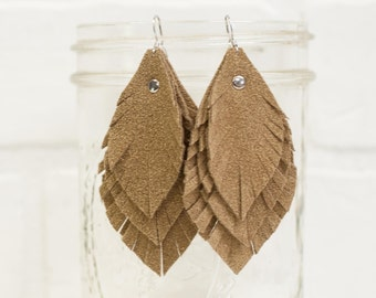 recycled, tan suede earrings, leather leaf earrings, dangle, leaves, leather earrings, handmade, jewelry, layered, leather, stacylynnc