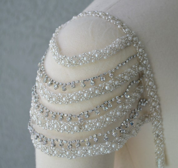 Detachable add on beaded ivory and rhinestone cap sleeves set for Adding cap sleeves to a wedding dress