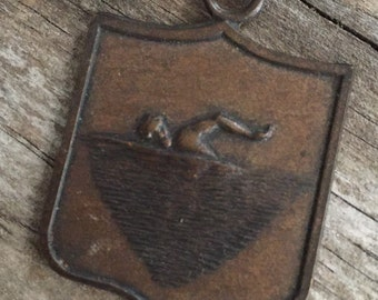 1920s VINTAGE Solid Brass SWIM Champion Medal Pendant FREE Style Swimming