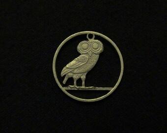GREECE - Cut Coin Pendant - Athenian Owl - 1973