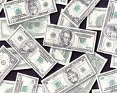 One (1) Yard - Pleasures and Pastimes Money Fabric Robert Kaufman ETJ-5211-1 Money