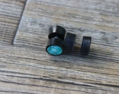 Fake gauge Plugs with inlayed Turquoise  earrings , 11mm Gauge ,Organic ,Black Horn and Turquoise ,post Earrings, hand carved,