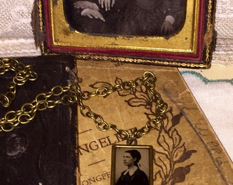 Victorian Gem Tintype Photo Necklace Pendant Goth Steampunk Mourning Oddities