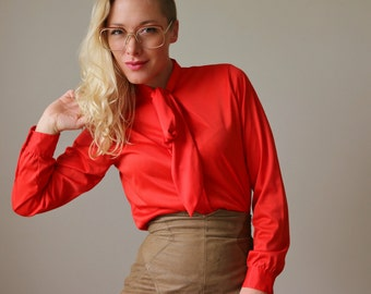 1970s Lipstick Ascot Blouse~Size Extra Small to Small