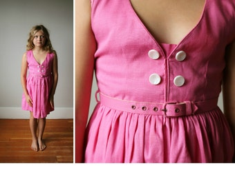 1950s Belted Watermelon Dress~Size 7/8/10