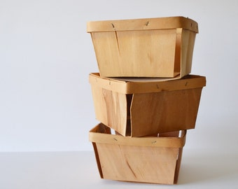 Old Wooden Berry Baskets Set of 3 Rustic Berry Basket Wooden Crate