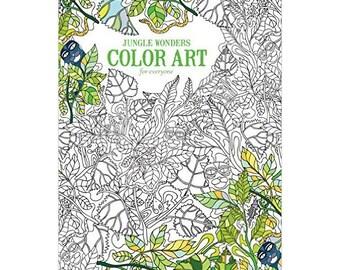 Jungle Wonders Adult Coloring Book Paperback Stress Relief Coloring Book Color Art Designs