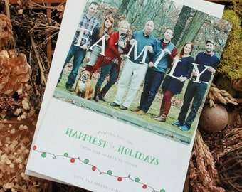 Cheerful Lights Holiday Family Photo Card, Family Photo Christmas Card, Holiday Photo Card, Christmas Photo Card, Baby Photo Christmas Card