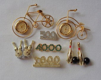 Novelty jewelry Pins Brooches watches  wear recycle Bowling Bicycle Numbers