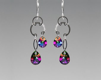 Swarovski Crystal Earrings, Rainbow Crystal, Wire Wrapped, Industrial Earrings, Electra Swarovski Crystal, Youniquely Chic, Antares II v9