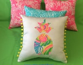 New Made To Order custom Pineapple Pillow made with Your Choice of over 30 new AUTHENTIC Lilly Pulitzer fabrics