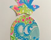 New Made To Order custom Pineapple Pillow made with Lilly Pulitzer Multi Lovers Coral fabric