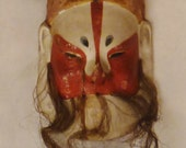ASIAN MASK Chinese Opera Character Repaired As Found black white red colors app 6x3x2 in