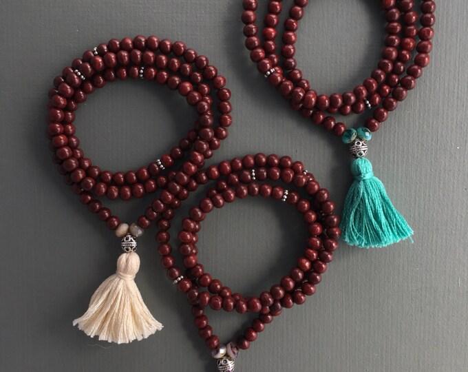 stretch 108 bead mala bracelet with tassel, yoga jewelry, wood bracelet, wrap bracelet, traditional mala, mala beads, yoga bracelet