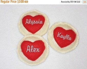 CHRISTMAS in JULY SALE Personalized Heart Felt cookies - Pretend food - Play food - birthday party favors - school treat - quantity discount