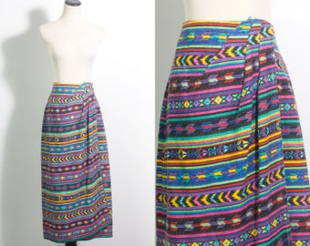 VTG 90's Neon Geo Stripe Wrap Skirt (Medium) Geometric Southwest Pink Yellow Green Purple Blue Straight Maxi Long Skirt Wrap Front Vintage