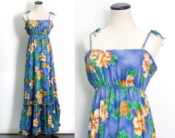 VTG 70's Beachy Vibes Maxi Dress (Large) Blue Sundress Hibiscus Pineapple Print Hawaii Tropical Beachwear Sleeveless Vintage Ruffles