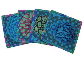 Quilted Coasters in Kaffe Fassett Dark Flowers with Aqua Dots