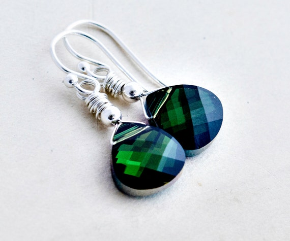 Crystal Earrings, Emerald Green, Drop Earrings, Swarovski Crystal, May, Crystal Jewelry, Wire Wrapped, Sterling Silver, PoleStar