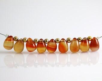 Natural Carnelian Beads - Briolette Drops - Carnelian Beads - 9 mm