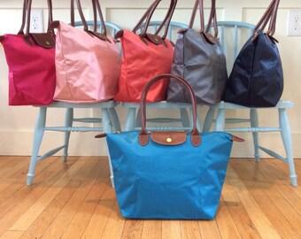 Blue Turquoise Personalized Bag Medium Large Tote  Nylon fold up style - monogrammed FREE - Preppy gift