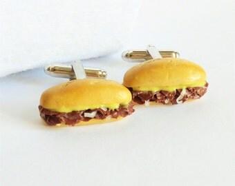 Philly Cheese Steak Hoagie Sandwich Cufflinks -  Miniature Food Art Jewelry Collectable - Schickie Mickie Original