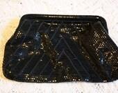 Vintage Black Sequined Mesh Evening Bag Clutch Purse
