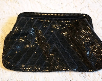 SALE! Vintage Black Sequined Mesh Evening Bag Clutch Purse