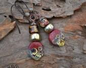 Lampwork and Greek Ceramic Earrings