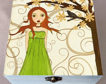 Whimsical Fantasy Redhead Girl, Large Jewelry Box, Trinket Box, Gift Box