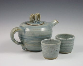 Glossy Blue Gray Side Handle Teapot With 4 Tea Cups