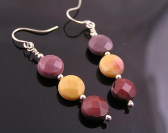 Colorful Mookaite Earrings, Sterling Silver Earrings, Australian Gemstone Earrings, Australian Jewelry, Mookaite Jewelry, E664
