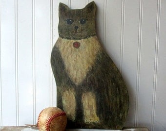 Vintage hand painted cat on wood  Naive Primitive Folk Art style dummy board plywood kitty Rocky