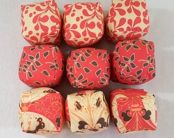 MOVING SALE Ivory and Salmon PInk Puzzle Pillows 3D Cube Stuffed Toy Set of 9 Home Decor Toy