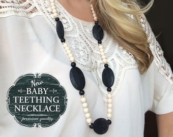 Free Shipping in Canada - Silicone Teething Necklace Silicone Baby Nursing Necklace  - Black and Cream
