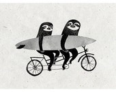 Tandem sloths A4 print