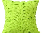 Lime Throw Pillows for Bed 16x16 Pillow Covers Suede Throw Pillows Covers with Pleats - Lime Wind Folds