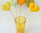 Bunch of Yellow Felt Hearts - Set of 5 Plush Handmade Felt Love Hearts on sticks in shades of yellow. Heart Toppers. Felt Heart Sticks.