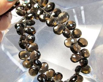 Summer Sale AAA Natural Smokey Quartz Briolette Beads, 9mm 10mm  12mm Briolette Beads