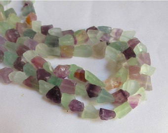 25% Off SALE Natural Fluorite Nugget Beads, Green Blue Purple Fluorite Nuggets, Satin Finish Beads