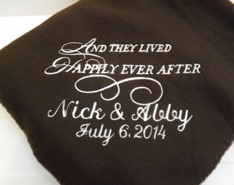 Happily Ever After Personalized Wedding Fleece Blanket