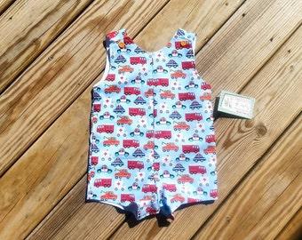 Toddler Boy Clothing - Boys Jon Jons - Boys Spring Clothing - Boys Shortall - Boys Birthday Outfit - Fire Truck - Ambulance -  Groovy Gurlz
