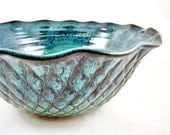 Handmade pottery serving bowl, stoneware serving bowl, teal blue pottery- Wedding Gift - IN STOCK TBP