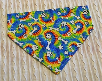 Dog Collar Bandana in Tie Dye Pattern with Dog Bones and Paws Sizes XS to XL