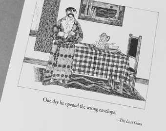 Edward Gorey One Day He Opened the Wrong Envelope . Edward Gorey illustration . DIY art gallery wall .  picture . wall decor . Lost Lions