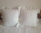 Pair Shabby chic Pre washed 100% Flax Linen Large European square  pillow case cover shams ruffled gray ecru white
