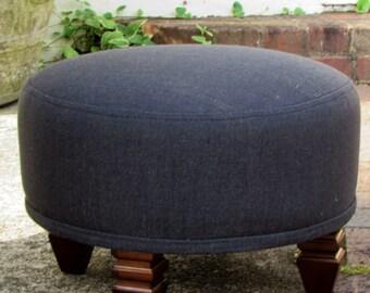 TUFFET in gunmetal gray, upholstered Stool/ottoman/tuffet/bench/seating furniture