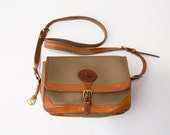 Vintage Dooney & Bourke Taupe and British Tan Large Surrey Bag Messenger Satchel Crossbody Bag